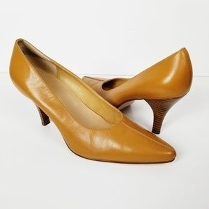 MADELINE PASCAL Tan Leather Pointed Toe Heels
